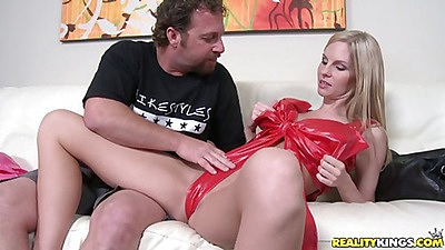 Hot milf on the white silky couch