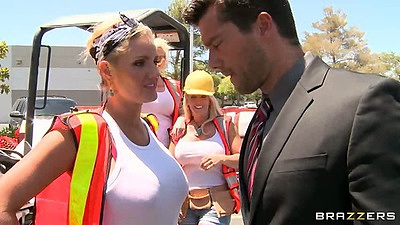 Construction worker Zoey Holiday in her uniform with big tits