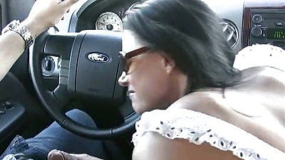 Blowjob in front drivers seat with India Summer in outdoor public video